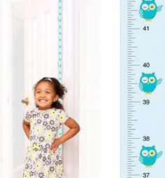Patent Pending Mom Approved Blue Owl PeekaBoo Growth Charts Track & Measure your Kid's Height. Fits in Standard Door Jamb, Removable & Reusable, Self-Adhesive [72 x 1.25 Inches] available on Etsy, Amazon, Ebay and www.momapproved.net
