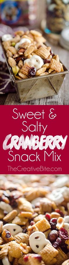 Sweet & Salty Cranberry Snack Mix is a party favorite filled with buttery cinnamon Chex Mix, yogurt covered pretzels, dried cranberries and mixed nuts. #SnackMix #Cranberry