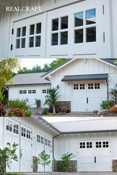 Discover beautiful, handmade Carriage Doors by Real Carriage Doors. White Garage Doors, Custom Garage Doors, Custom Garages, Barn Doors, Carriage Doors, Mansions, House Styles, Handmade, Beautiful