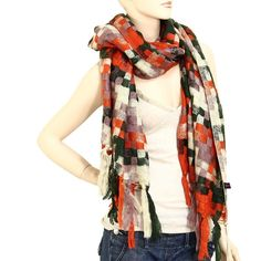 Rust and Multi Colored Checked Winter Scarf