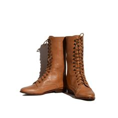Tan Leather Tall Lace Up Ankle Boots Women's Flat Heel Leather Boots