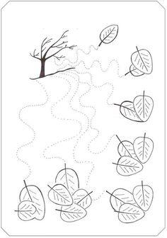 Fall tree trace line worksheet - Wavy lines