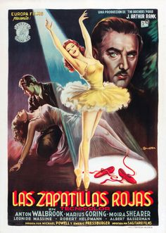 """MP1195. """"The Red Shoes"""" Spanish Movie Poster by Anselmo Ballester (Michael Powell & Emeric Pressburger 1948) / #Movieposter"""