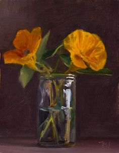Julian Merrow-Smith  painting of Flowers in a Jar
