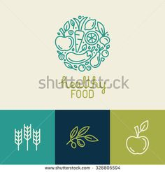 Vector logo design template with fruit and vegetable icons in trendy linear…