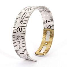 Measuring tape metal bracelet. You can find vintage metal measuring tape in my etsy shop: http://www.etsy.com/shop/UpcycleandRemix