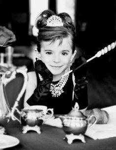"Little Girl Audrey Hepburn photos. Swirl lollipop as the ""cigarette"". <3"