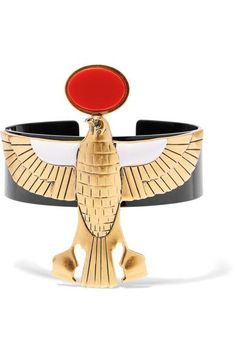 Gold-tone brass Black and red resin, white and black enamel Slips on Made in Italy
