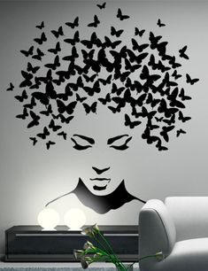 Butterflies in the head wall sticker, wall decal, butterflies wall decor, butterflies wall sticker removable vinyl wall art These stickers are made from high-quality german matt vinyl. Service life up to 7 years. Available in a choice of 35 colors. Creative Wall Painting, Wall Painting Decor, Diy Wall Decor, Art Decor, Creative Walls, Wall Paintings, Painting Art, Durga Painting, Black Painting