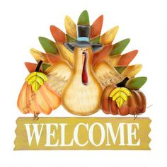 Welcome friends and family to your Thanksgiving feast with our festive wall hanger. Colorful leaf and pumpkin details adorn this friendly wood turkey.