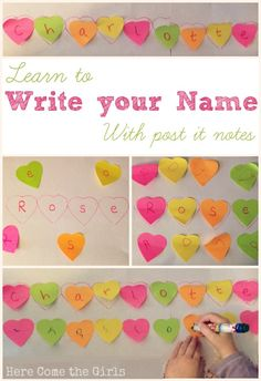 Using Heart-Shaped Post-It Notes for Name-Writing Practice #preschool #homeschool