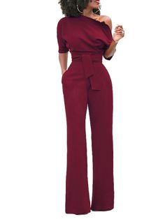 Solid One Shoulder Tied Waist Flared Jumpsuit - Wine Red