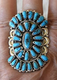 NAVAJO STERLING SILVER LARGE TURQUOISE CLUSTER RING BY JUSTINA WILSON - SIZE 9