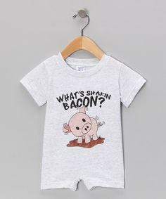 Look at this Heather 'What's Shakin Bacon?' Romper - Infant on #zulily today!