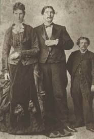 """""""THE GIANTS OF SEVILLE""""  Captain Martin Van Buren Bates (1845-1919) and Anna Swan Bates (1848-1889)   Bates was born in Letcher County Kentucky  Guiness Records show he stood 7' 9"""" and weighed 470lbs. He was a teacher, confederate soldier and later joined the circus where he met 7' 5"""" Anna also in the circus they recieved diamond watches from queen victoria as wedding gifts. they had a son who weighed 18lbs stillborn and another that weighed 22lbs they lived in seville ohio (I am related to…"""