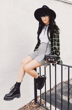 Oversized round hat with plaid shirt, white top, grey skirt & platform combat boots by jaglever