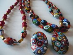 Antique Art Deco Venetian Murano Millefiori Glass Beads Necklace Set Italy Mark | eBay