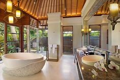 luxury open space bathroom with separate shower, Nikko Bali Resort & Spa, Villas
