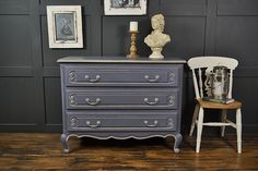 This original large French chest of drawers is a truly stunning addition to any bedroom. Painted in Annie Sloan Old Violet with Paris Grey edging and Farrow & Ball Purbeck Stone inner drawers. This piece has plenty of storage space with real French charm and elegance.