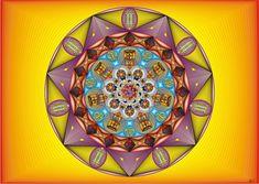 Pôster Mandala Nr 7 - GYP - Simbologia: Baseada na numerologia do número 7 esta mandala é perfeita para pessoas de conteúdo nobre, que preza o silêncio e a quietude, altruísta a ponto de esquece a si próprio.  É uma pessoa grandiosa e por isso é sempre atraída por grandes oportunidades.  Pontos positivos: a sabedoria, tranqüilidade, introspecção, intuição, poder de análise, meticulosidade, lógica, perfeccionismo, autocontrole e curiosidade.