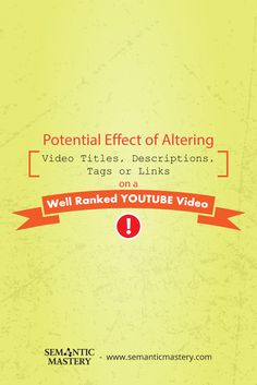 """""""What Will Happen if You Alter the Title Description Links of a YouTube Video That is Already Ranking?"""" #SEO via http://semanticmastery.com/what-will-happen-if-you-alter-the-title-description-links-of-a-youtube-video-that-is-already-ranking/"""