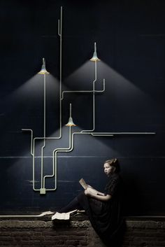 "Light Forest by Ontwerpduo // Light forest is a wall and ceiling lighting system. The possibilities are unlimited. The design consists out of different parts, which can de connected to the wall and ceiling. Step by step the lighting system will ""grow"" across the space. It is possible to get only one single lighting point or many more lighting points, wherever you would like to position them. Obstacles or height differences are useful features to install these lights in a beautiful way."
