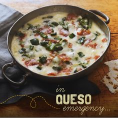 How bout some ooey-gooey Bacon Chile Queso for the game tonight? We're thinking that's a yes. #recipe #basketball #cheese #snack #entertaining #mexican #game #madness #tournament