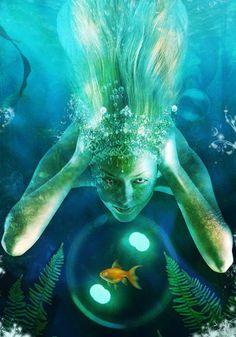 mermaids by `AutumnsGoddess on deviantART Fantasy Mermaids, Mermaids And Mermen, Real Mermaids, Mythical Creatures, Sea Creatures, Mermaid Tale, Photoshop, Merfolk, Goldfish