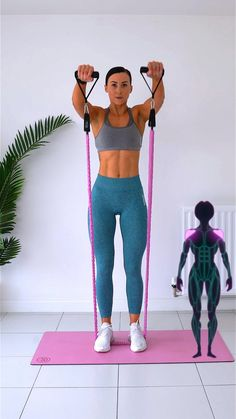 Band Workout, Gym Workout Videos, Gym Workout For Beginners, Gym Workouts, At Home Workouts, Workout Videos For Women, Back Workout Women, Fitness Workout For Women, Shoulder Workout Women