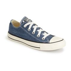 Converse Chuck Taylor All Star Washed Canvas 'Ox' Sneaker ($33) ❤ liked on Polyvore featuring shoes, sneakers, converse, sapatos, navy, navy sneakers, canvas lace up sneakers, navy canvas shoes, lace up shoes and star sneakers
