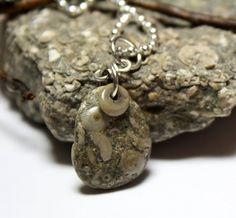 Beach Stone Crinoid Necklace