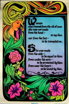 Vintage 1974 Blacklight~WOMAN~Garden of Eden Flocked Poster
