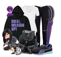 """DUDE, WOMAN UP!"" by leslieakay ❤ liked on Polyvore featuring Swarovski, Frame Denim, Helmut Lang and Puma"
