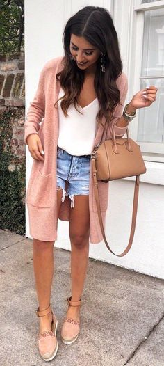 what to wear a pair of denim shorts bag   white top   cardigan   nude shoes