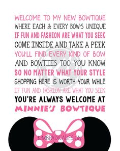Minnie's Bowtique Song Subway Art 8x10 Digital by KimBradicaDesign, $10.00