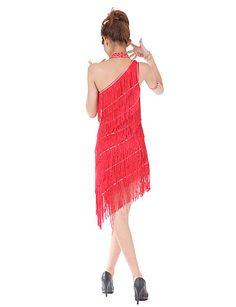 Dancewear One Shoulder Polyester with Tassels Performance Latin Dance Dress For Ladies More Colors - USD $ 43.79
