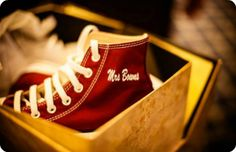 Personalised #Converse for the bride taken at the wedding of Chris and Katie. Photography: http://www.lumiere-photography.co.uk/