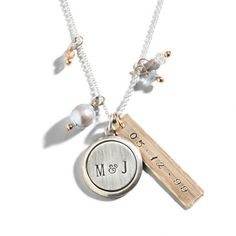 Champagne and Pearls Stamped Name Necklace