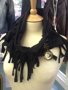 Scarf from recycled t shirt and jewellery