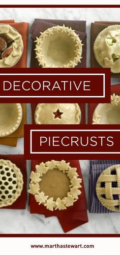 Decorative Piecrusts That Will Wow the Crowd Before you bake, add a special touch to your pies -- it's the perfect way to personalize any pastry!Before you bake, add a special touch to your pies -- it's the perfect way to personalize any pastry! Pie Dessert, Dessert Recipes, Pie Crust Designs, Pie Crust Recipes, Sweet Pie, No Bake Pies, Pie Cake, Holiday Baking, Holiday Pies