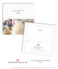 """Photographer Gift Certificate 5x5 Photoshop Template """"Grigio"""" by FOTOVELLA. Featured images © Jenn Guthrie Photography"""