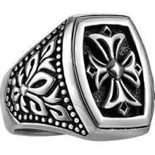 UnKaged Ring with Sparta Engraving, Cross Seal in the center -- by Scott Kay