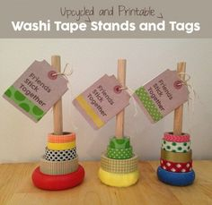 Upcycle stacking toys into washi tape stands! Add a printable gift tag and colorful washi tape to make the perfect gift. Diy Wreath Hanger, Crafts For Teens, Diy And Crafts, Cake Order Forms, Stacking Toys, Washi Tape Diy, How To Introduce Yourself, How To Make, Gift Tags Printable