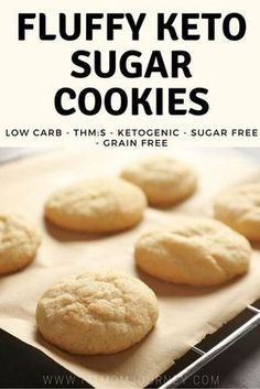 These Fluffy Keto Sugar Cookies will change your life! So easy to make, fit your macros perfectly, and free of grains and sugar! #keto #ketogenic #ketolifestyle #ketosis #cookies #fathead #lowcarb #trimhealthymama #thm #sugarfree #grainfree