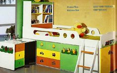 """Bunk Bed Model Compact C 05  Dimensions Overall size required is 7'x7'. Lots of storage space below the sleeping portion. The study table slides in and out. The upper mattress size is 72""""x36"""" and size required without study table pulled out is 7'x3-1/2' Price : Rs. 73,200/-  Mattress is extra. Please email for prices. Delivery Estimated delivery time is 60 days.  visit http://kidsfurnitureworld.in/bunk-beds.html"""
