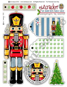 Etsy Academy Square Nutcracker and Gift Tags Sheet 1 by Lori Nawyn