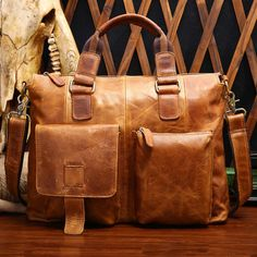 Men Crazy Horse Leather Retro Front Pocket 14' Laptop Trolley Briefcase Handmade #Unbranded #MessengerShoulderBag
