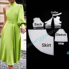 ENG➡️to draft this patter, start from a basic block with darts - mirror both front and back to draw the asymmetric neckline on the back,… Evening Dress Patterns, Dress Sewing Patterns, Clothing Patterns, Wedding Dress Patterns, Look Fashion, Diy Fashion, Fashion Tips, Sewing Clothes, Diy Clothes