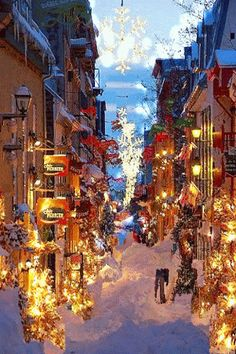 Christmas in Old Quebec street, Canada