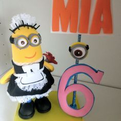 Despicable me  minions centerpiece cake topper  Birthday decor Phil Minion